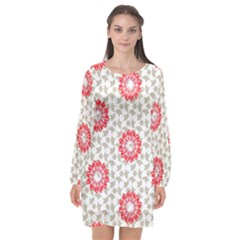 Stamping Pattern Red Long Sleeve Chiffon Shift Dress