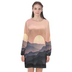 Sunset Sky Sun Graphics Long Sleeve Chiffon Shift Dress  by Desi8477