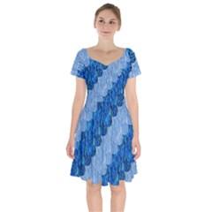Texture Surface Blue Shapes Short Sleeve Bardot Dress by Desi8477
