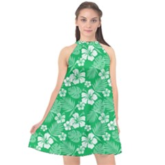 Colorful Tropical Hibiscus Pattern Halter Neckline Chiffon Dress