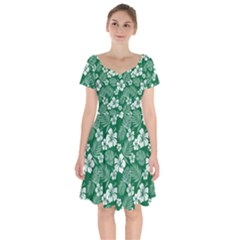 Colorful Tropical Hibiscus Pattern Short Sleeve Bardot Dress