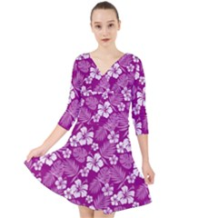 Colorful Tropical Hibiscus Pattern Quarter Sleeve Front Wrap Dress