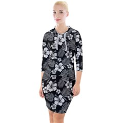 Colorful Tropical Hibiscus Pattern Quarter Sleeve Hood Bodycon Dress by tarastyle