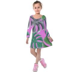 Tropical Greens Pink Leaf Kids  Long Sleeve Velvet Dress