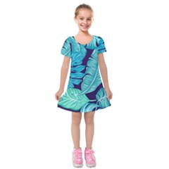 Tropical Greens Leaves Banana Kids  Short Sleeve Velvet Dress