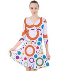 Wallpaper Circle Quarter Sleeve Front Wrap Dress by Desi8477