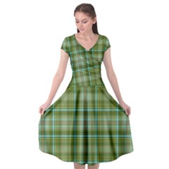 Vintage Green Plaid Cap Sleeve Wrap Front Dress by Desi8477
