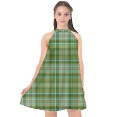 Vintage Green Plaid Halter Neckline Chiffon Dress