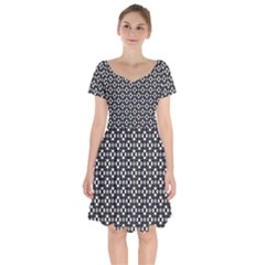Imagine Paint Black White Short Sleeve Bardot Dress