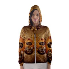 Awesome Steampunk Easter Egg With Flowers, Clocks And Gears Hooded Windbreaker (women) by FantasyWorld7