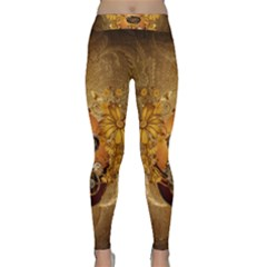 Awesome Steampunk Easter Egg With Flowers, Clocks And Gears Classic Yoga Leggings by FantasyWorld7
