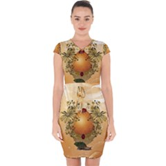 Wonderful Easter Egg With Flowers And Snail Capsleeve Drawstring Dress  by FantasyWorld7