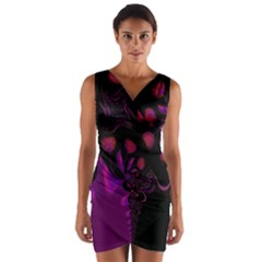 Background Red Purple Black Color Wrap Front Bodycon Dress by Pakrebo