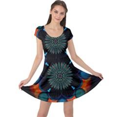 Ornament Fractal Pattern Background Cap Sleeve Dress