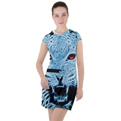 Animals Leopard Fractal Photoshop Drawstring Hooded Dress by Pakrebo