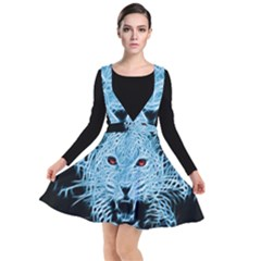 Animals Leopard Fractal Photoshop Plunge Pinafore Dress by Pakrebo