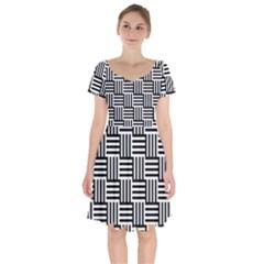 Black And White Basket Weave Short Sleeve Bardot Dress by retrotoomoderndesigns