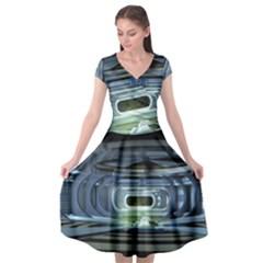 Spaceship Interior Stage Design Cap Sleeve Wrap Front Dress