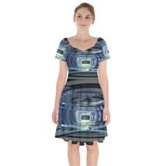 Spaceship Interior Stage Design Short Sleeve Bardot Dress