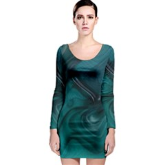 Abstract Graphics Water Web Layout Long Sleeve Bodycon Dress