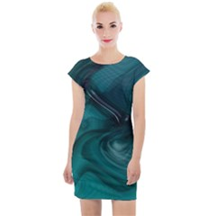 Abstract Graphics Water Web Layout Cap Sleeve Bodycon Dress