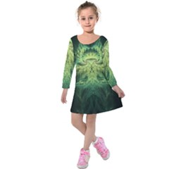 Fractal Jwildfire Scifi Kids  Long Sleeve Velvet Dress