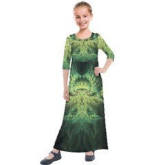 Fractal Jwildfire Scifi Kids  Quarter Sleeve Maxi Dress by Pakrebo