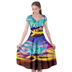 Colorful Chakra Lsd Spirituality Cap Sleeve Wrap Front Dress by Pakrebo