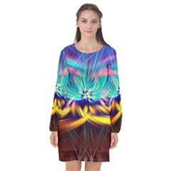 Colorful Chakra Lsd Spirituality Long Sleeve Chiffon Shift Dress  by Pakrebo