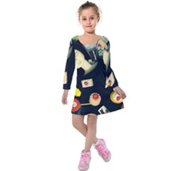 Food Kids  Long Sleeve Velvet Dress