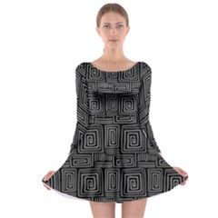 Gray Square Swirl Long Sleeve Skater Dress