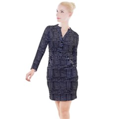 Gray Square Swirl Button Long Sleeve Dress