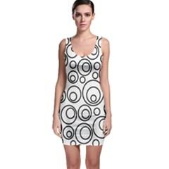 Abstract Black On White Circles Design Bodycon Dress