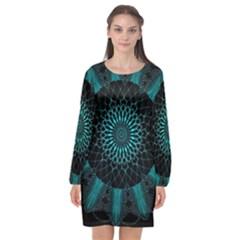 Ornament District Turquoise Long Sleeve Chiffon Shift Dress