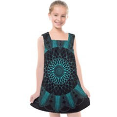 Ornament District Turquoise Kids  Cross Back Dress by Pakrebo