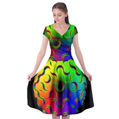 Ball Sphere Digital Art Fractals Cap Sleeve Wrap Front Dress