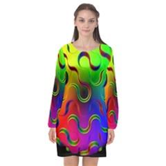 Ball Sphere Digital Art Fractals Long Sleeve Chiffon Shift Dress