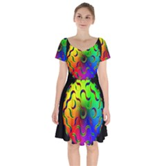 Ball Sphere Digital Art Fractals Short Sleeve Bardot Dress