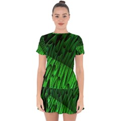 Fractal Rendering Background Green Drop Hem Mini Chiffon Dress by Pakrebo