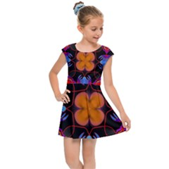 Ornament Colorful Color Background Kids  Cap Sleeve Dress by Pakrebo