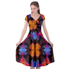 Ornament Colorful Color Background Cap Sleeve Wrap Front Dress by Pakrebo