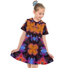 Ornament Colorful Color Background Kids  Short Sleeve Shirt Dress by Pakrebo