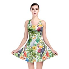 Tropical Parrots Pattern Reversible Skater Dress by goljakoff