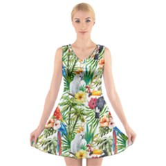 Tropical Parrots Pattern V Neck Sleeveless Dress by goljakoff