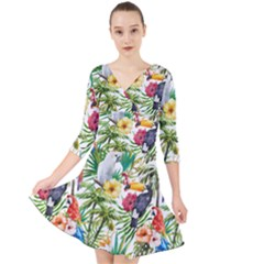 Tropical Parrots Pattern Quarter Sleeve Front Wrap Dress by goljakoff