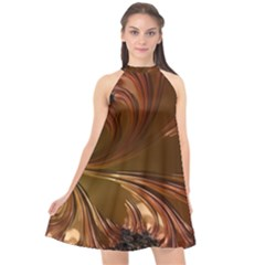 Fractal Copper Copper Color Leaf Halter Neckline Chiffon Dress  by Pakrebo