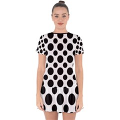 Polka Dots (large) Drop Hem Mini Chiffon Dress