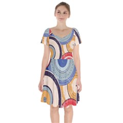 Traditinal Japanese Art Short Sleeve Bardot Dress