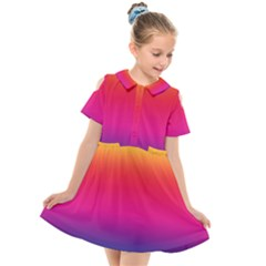 Neon Bright Rainbow Kids  Short Sleeve Shirt Dress by retrotoomoderndesigns