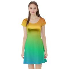 Sunburnt Splash Short Sleeve Skater Dress